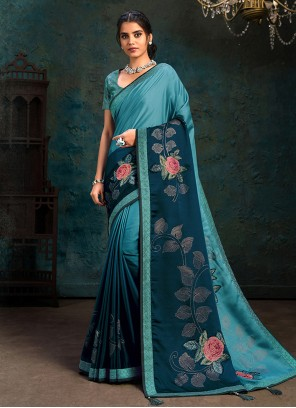 Blue Digital Print Silk Shaded Saree
