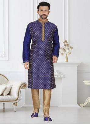 Blue Dupion Silk Festival Kurta Pyjama