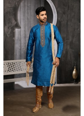 Blue Embroidered Art Banarasi Silk Kurta Pyjama