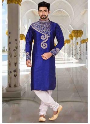 Blue Embroidered Art Dupion Silk Kurta Pyjama