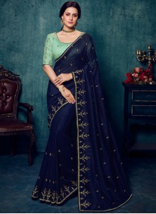 Blue Embroidered Art Silk Designer Traditional Saree