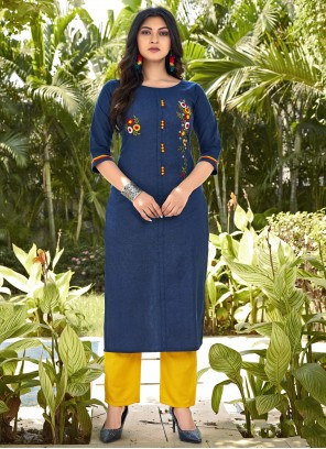 Blue Embroidered Casual Kurti