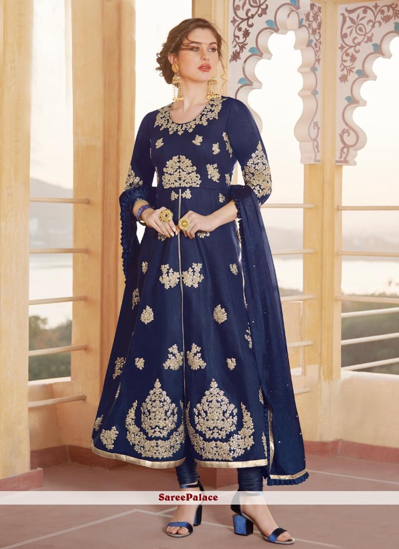 Blue Embroidered Ceremonial Anarkali Salwar Kameez