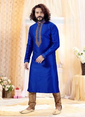 Blue Embroidered Ceremonial Kurta Pyjama