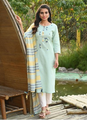 Blue Embroidered Ceremonial Readymade Suit