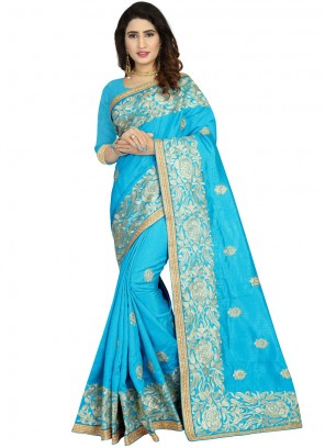 Blue Embroidered Ceremonial Traditional Designer Saree