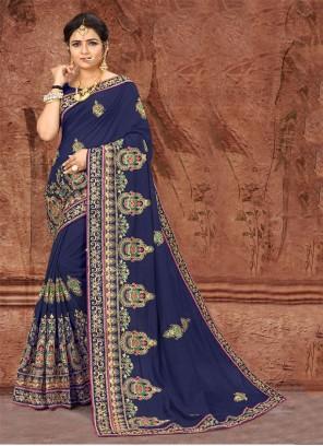 Blue Embroidered Classic Designer Saree