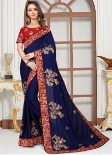 Blue Embroidered Classic Saree