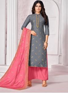 Blue Embroidered Cotton Bollywood Salwar Kameez