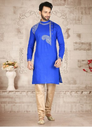 Blue Embroidered Cotton Kurta Pyjama