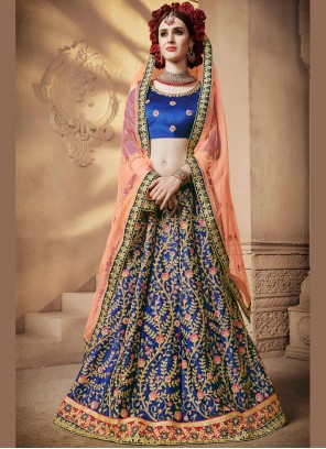 Blue Embroidered Designer Lehenga Choli