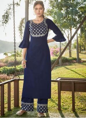 Blue Embroidered Designer Salwar Suit