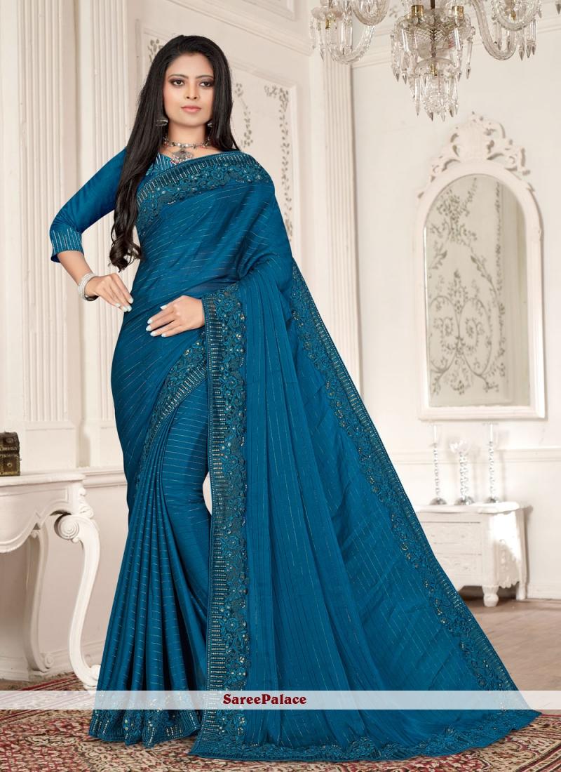 Blue Embroidered Resham Designer Saree