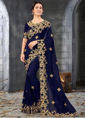 Blue Embroidered Designer Saree