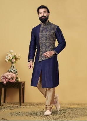 Blue Embroidered Dupion Silk Kurta Pyjama