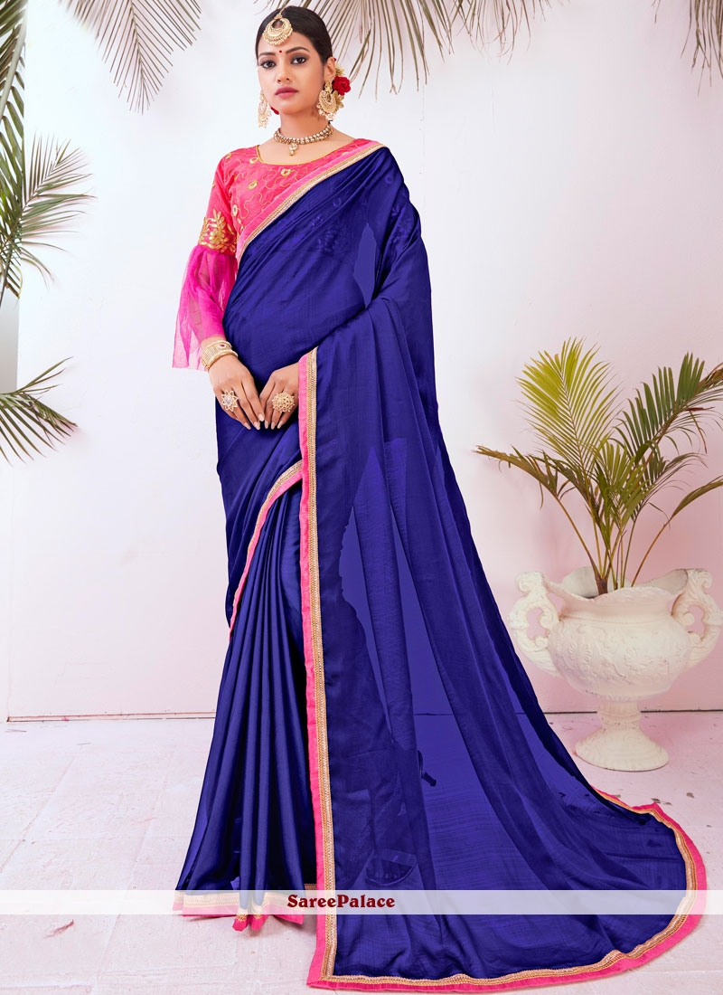 Blue Embroidered Faux Chiffon Designer Saree