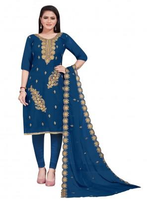 Blue Embroidered Faux Georgette Churidar Designer Suit