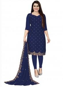 Blue Embroidered Festival Churidar Designer Suit