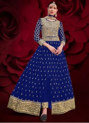 Blue Embroidered Festival Floor Length Anarkali Suit