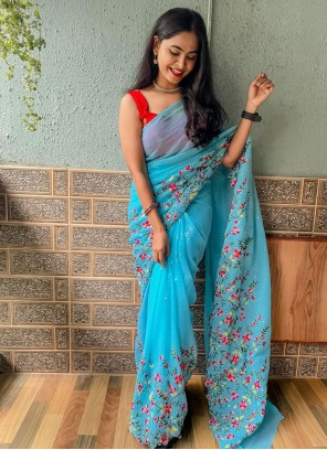 Blue Embroidered Festival Trendy Saree