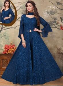 Blue Embroidered Georgette Salwar Kameez