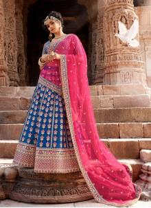 Blue Embroidered Handloom silk Trendy Lehenga Choli