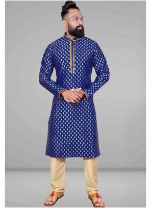 Blue Embroidered Jacquard Kurta Pyjama