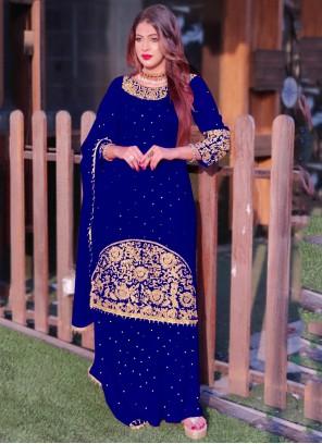 Blue Embroidered Long Choli Lehenga