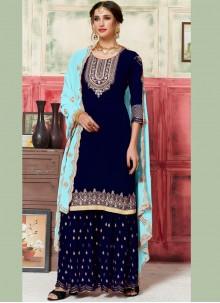 Blue Embroidered Mehndi Designer Palazzo Salwar Kameez