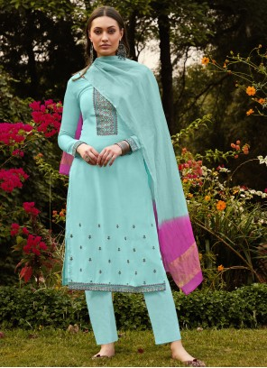 Blue Embroidered Muslin Pant Style Suit