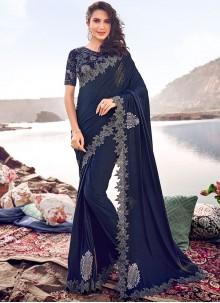 Blue Embroidered Net Classic Designer Saree