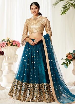 Blue Embroidered Net Trendy Lehenga Choli