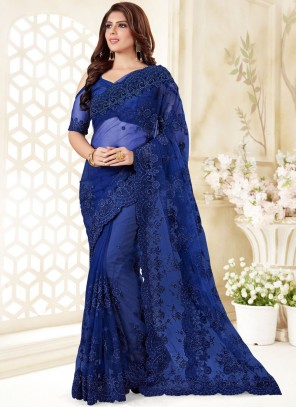 Blue Embroidered Party Classic Designer Saree