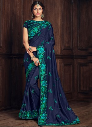 Blue Embroidered Poly Silk Designer Traditional Saree