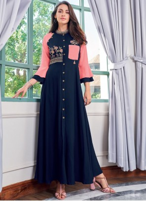 Blue Embroidered Rayon Party Wear Kurti