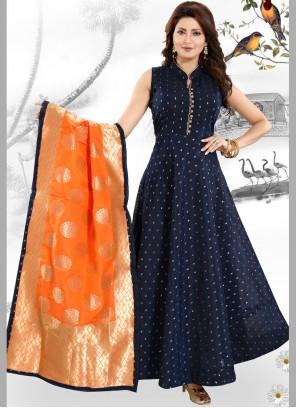 Blue Embroidered Reception Anarkali Salwar Kameez