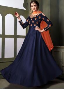 Blue Embroidered Reception Anarkali Salwar Suit