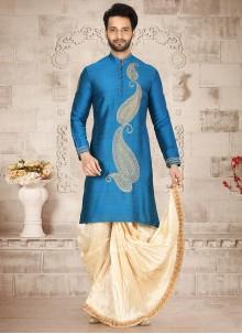 Blue Embroidered Reception Dhoti Kurta