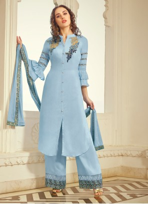 Blue Embroidered Reception Trendy Palazzo Salwar Kameez