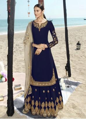 Blue Embroidered Salwar Suit