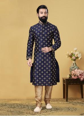 Blue Embroidered Sangeet Kurta Pyjama