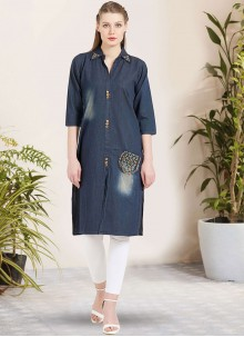 Blue Embroidered Sangeet Party Wear Kurti