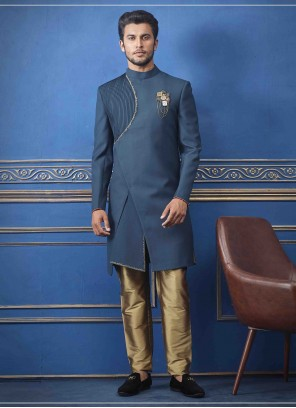 Blue Embroidered Sherwani