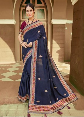 Blue Embroidered Silk Classic Saree