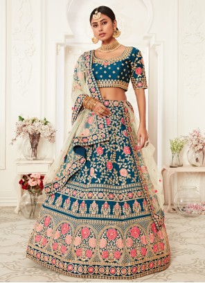 Blue Embroidered Silk Designer Lehenga Choli