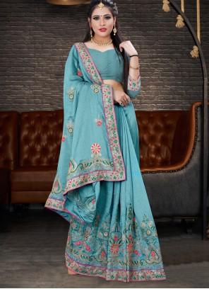 Blue Embroidered Silk Designer Lehenga Style Saree