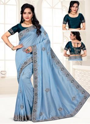 Blue Embroidered Silk Designer Traditional Saree