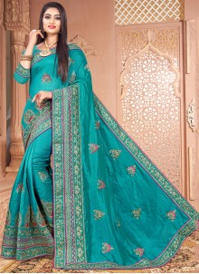 Blue Embroidered Silk Traditional Saree