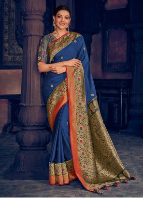 Blue Embroidered Traditional Designer Saree