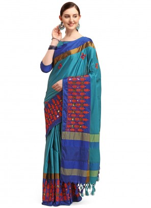Blue Embroidered Traditional Saree